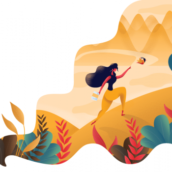 A girl in yellow dress chasing bird  up a mountain